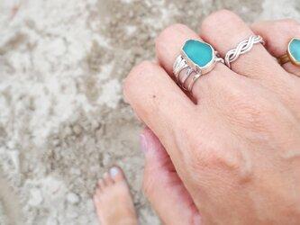 【14号】silver925 seaglass ring 5lineの画像