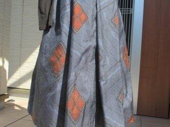 着物リメイク * 大島紬のタックスカート* 一点品 再版の画像
