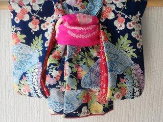♪市松人形の着物8号 紺色98の画像