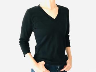 【7分袖用】形にこだわった 大人のVネックTシャツ【サイズ・色展開有り】の画像