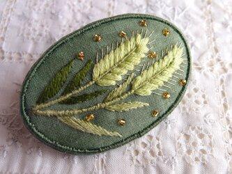 青い麦のブローチの画像