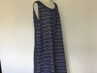 0911    ビックサイズのロングワンピース    浴衣地A    濃紺の画像