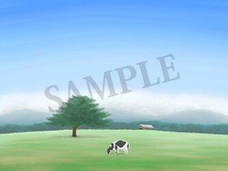 フルスクリーンB5ポスター「牧場」(額装済み)の画像
