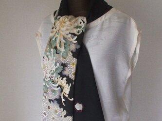 アンティーク友禅大輪の菊の留袖ストール 絹の画像