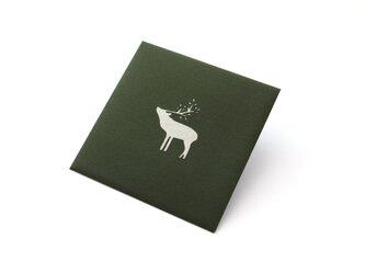 【切り絵のぽち袋】 鹿・銀色(大サイズ) 2枚セットの画像