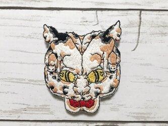 手刺繍浮世絵ブローチ*歌川芳藤「五拾三次之内猫之怪」よりの画像