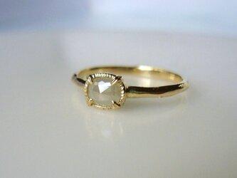 ナチュラルダイヤモンドのK14の指輪(ミルキーホワイトグレー) の画像