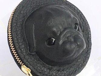 黒パグの本革コインケースの画像