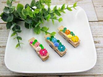 クイリングの小花が可愛いwoodピンチ(マグネット)の画像