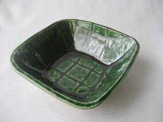 スリップ模様 織部四方鉢の画像