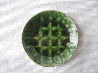 スリップ模様 織部小皿の画像