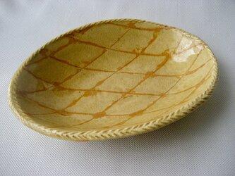 スリップ模様 灰釉ダ円鉢の画像