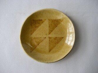スリップ模様 灰釉小皿の画像