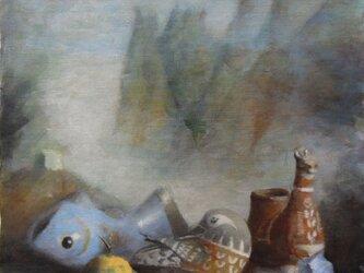 ゆずと山水画/ラピスラズリの画像