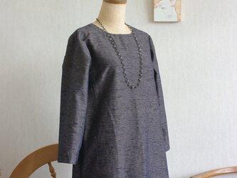 久留米絣濃紺×アイボリー色七分袖ワンピースの画像