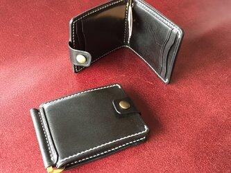 【手縫・ブラック】巾85mmフラットになるマネークリップ カードポケット4+マルチポケット 札ばさみ MC-10bk ヌメ革 黒の画像