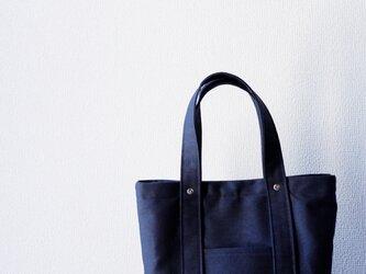 トートバッグ : 倉敷帆布:S:ブラック×グレーチェックの画像