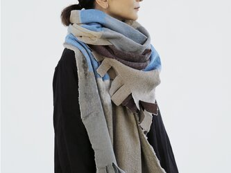 大判ストール ベージュ ウール【AKARI】ruinuno(ルイヌノ)フェルト ショールの画像