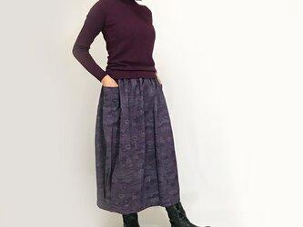 きものリメイクのロングスカート、バルーンスカート、パープルの画像