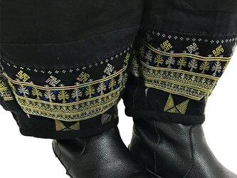 XL~XXLサイズ、ジョムトン手織り綿のもんぺパンツ、ヤオ刺繍付き、オールシーズンの画像