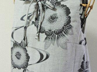 浴衣リメイク:浴衣リボンワンピース 花と波の画像