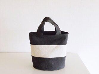 OVALTOTE - stripe - (M) / charcoal & ecruの画像