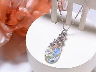 雫☆アート スワロフスキー ワイヤーラッピング ネックレス(160214 crystalAB)~大人可愛い スワロ~の画像