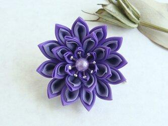 <送料無料>つまみ細工 お花のポニーフック 紫の画像