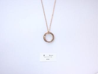 再販*【14kgf】月ネックレス / 模様&プレーン Wリング(40cm)二連の画像