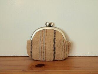 手紡ぎ手織りのがま口 -茶綿ストライプ-の画像