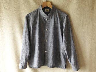 スタンドカラーシャツ(灰紺綿)の画像