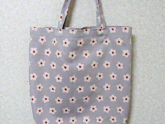 北欧調マチ付きトートバッグ(花・グレー)の画像