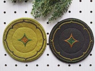 アイヌ刺繍入りコースター(丸型2色)二枚セットの画像
