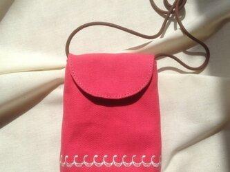 帆布スマホポシェット ピンクの画像