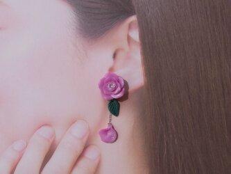 3200→2800【期間限定Sale】ビビットピンクの薔薇 イヤリング ピアス アシンメトリー[送料無料]①の画像