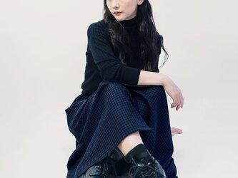 年間OK!黒×青 ギンガムチェック ポリレーヨン ロングスカート ●LISA●の画像