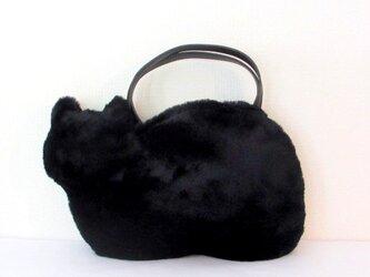 *新作*黒猫のふわふわネコバッグ  エコファーの画像