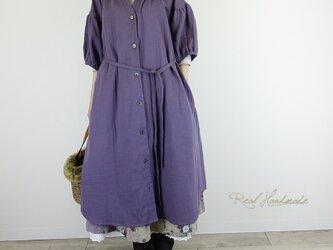 [予約販売] モーブWガーゼドロップ羽織りワンピースの画像