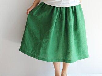 リネンのギャザースカート【グリーン】の画像