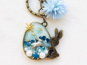 ウサギキーホルダー(ブルー)の画像