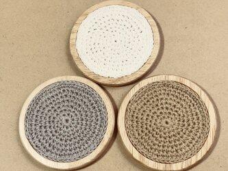 ☘️木製コースター*(白)* 1枚の画像