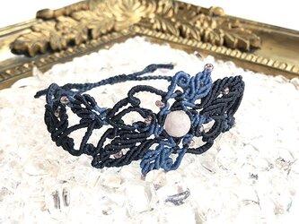 天然石のマクラメ編みブレスレット【アール・ヌーヴォー】ネイビー系・アメジストの画像