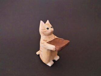 木彫り 置物 ミニ立ちネコ チャトラ リング置きの画像