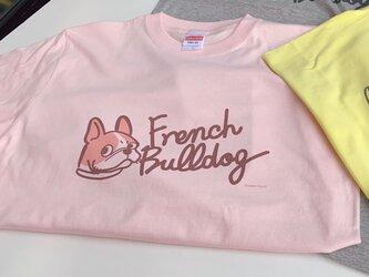 プリントTシャツ FrenchBulldog文字入 ビンクバージョン 【受注販売】の画像