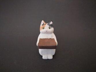 木彫り 置物 ミニ立ちネコ ミケ リング置きの画像
