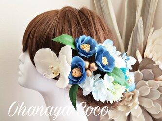 花雫 fuwafuwa紫陽花と和ponボールの髪飾り15点Set No607の画像