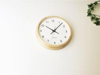 KATOMOKU muku clock 13 ヒノキ km-104HIRC 電波時計 連続秒針 掛け時計の画像