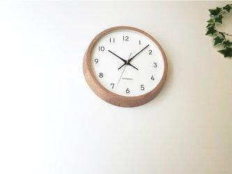 KATOMOKU muku clock 13 オーク km-104ORRC 電波時計 連続秒針 掛け時計の画像