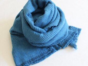 正藍染 オーガニック起毛ストール 縹色(はなだいろ)の画像