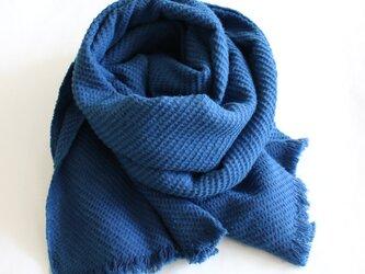 正藍染 オーガニック起毛ストール 藍色の画像